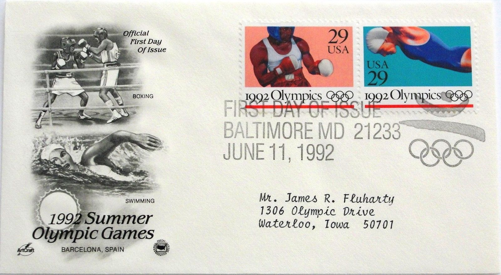 Jun. 11, 1992 First Day of Issue, Art Craft Cover, Summer Games Boxing/Swim #18