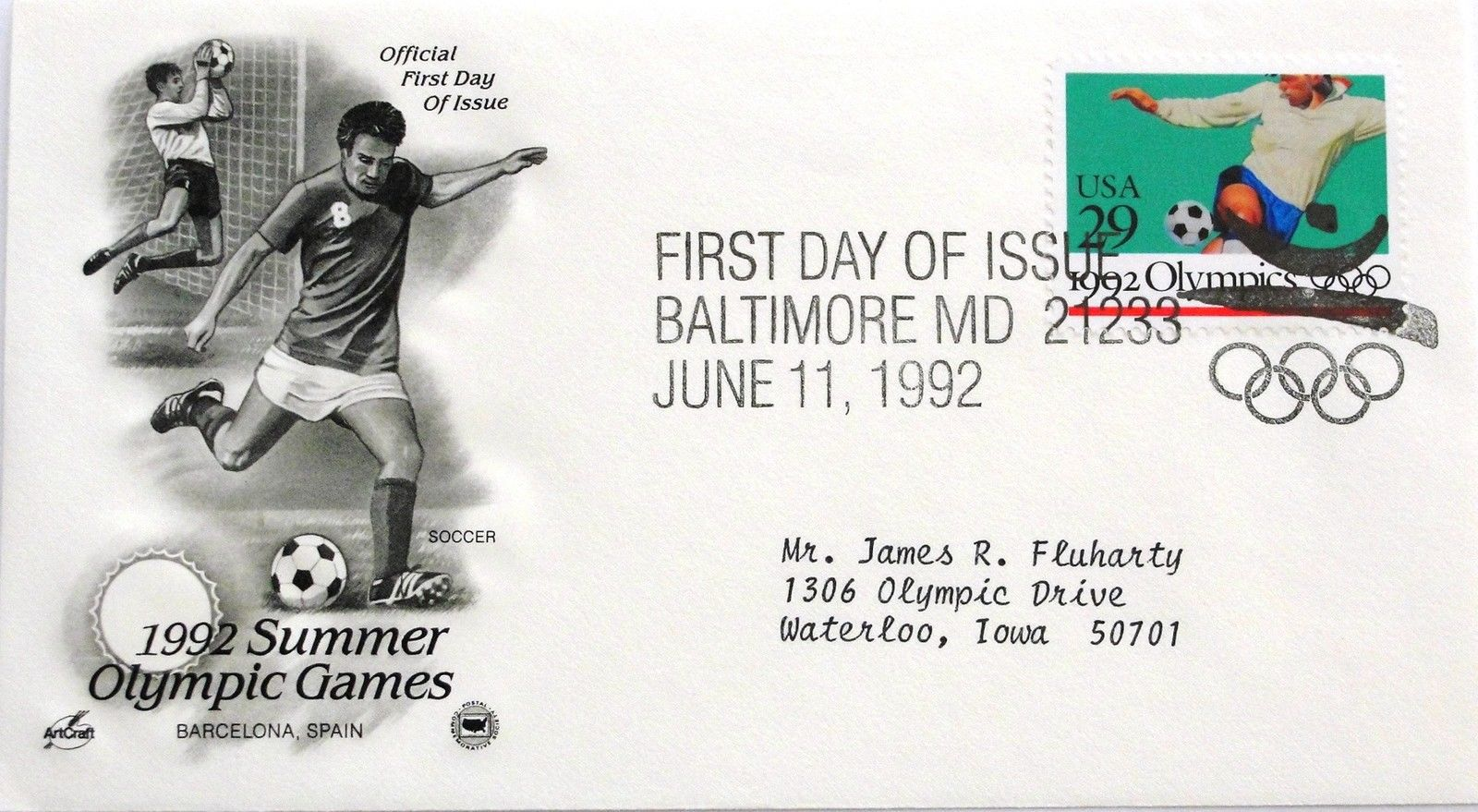 Jun. 11, 1992 First Day of Issue, Art Craft Cover, Summer Olympics Soccer #16