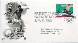 Jun. 11, 1992 First Day of Issue, Art Craft Cover, Summer Olympics Socce... - $2.68
