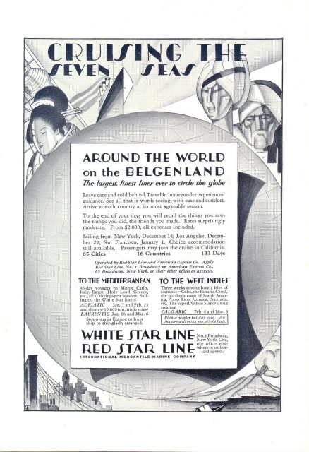 1928 White & Red Star Line Cruising the Seven Seas print ad