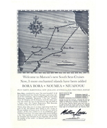 1962 Matson Lines South Seas Cruises route map print ad - $10.00