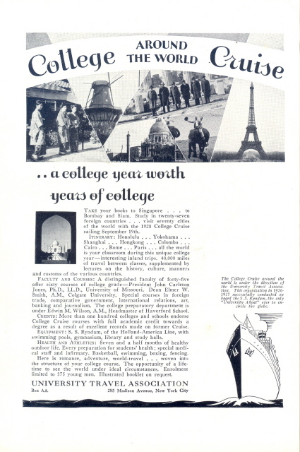 1928 University Travel Association college cruise print ad