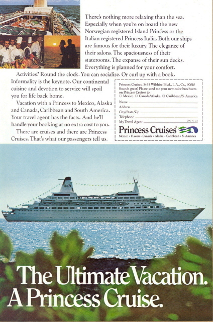 1989 Princess Cruise Ship ultimate vacation print ad