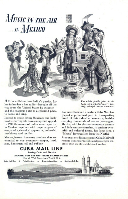 1946 Cuba Mail Line Mexico music & dancing graphic print ad
