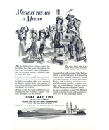 1946 Cuba Mail Line Mexico music & dancing graphic print ad - $10.00