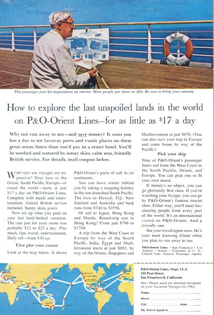 1966 P&O Orient lines cruise deck painting route map print a