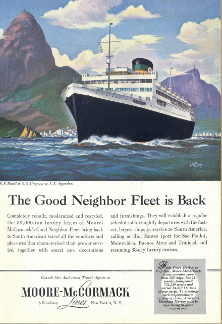 1948 Moore McCormack Lines Cruise Ship travel print ad