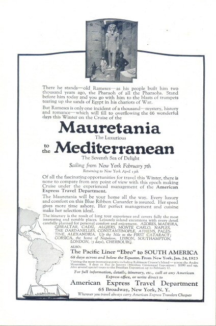 1922 American Express Travel Department cruise tour print ad
