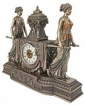 Versailles Maidens Mantel Clock Statue, 14 Inch, Polyresin, - $249.29
