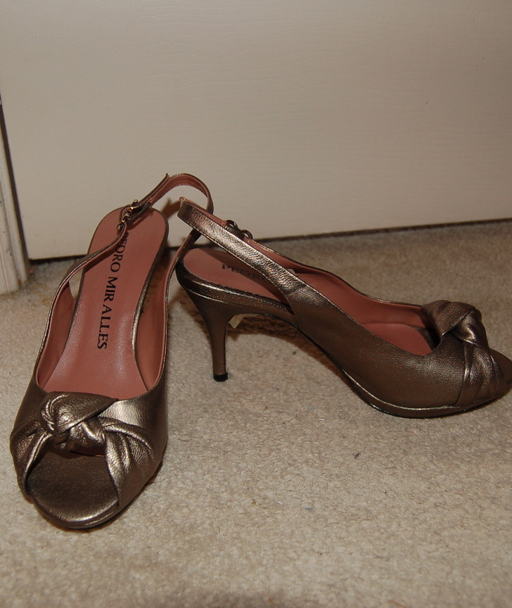 Pedro miralles bronze heeled shoes