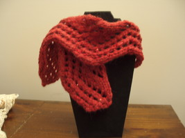 Knit scarf mohair garnet red lace - $18.00
