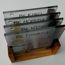 Glass Owl beverage drink coasters set of 4 Be Kind Thankful Wise Hopeful  - $24.99