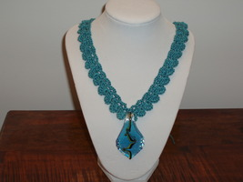 Necklace Blue Glass Pendant free shipping - $30.00