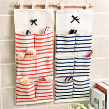 Striped Wall Hanging Storage Bag Cotton Linen Makeup Cosmetic Pockets Or... - €5,61 EUR+