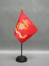 "MARINES 4X6"" TABLE TOP FLAG W/ BASE NEW US MARINES DESK TOP HANDHELD STI... - $4.95"