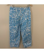 Talbots Petites Stretch Ankle Cropped Pants Size 4 Blue White Floral Print - $14.99