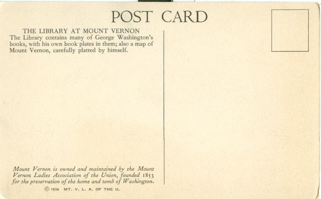 The Library at Mount Vernon, VA, 1934 unused Postcard