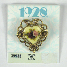 1928 Brooch Goldtone Signed Pin Vintage Heart Shaped Card USA Flowers - $29.69