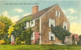 John Alden House, Duxbury, Mass, unused linen Postcard  - $4.35
