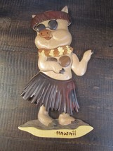 Wood Carved Pig Hula multi tone Wall Art Hanging Hawaii Island Wood Coll... - $14.83