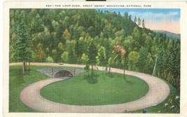 The Loop-over, Great Smoky Mountains National Park, 1939 used linen Postcard  - $4.99