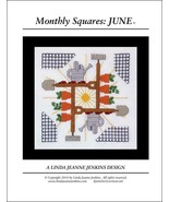 Monthly Squares June cross stitch card chart Linda Jeanne Jenkins - $6.00