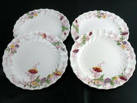 Copeland Spode Fairy Dell Poppy Luncheon Plates 4pc Set, Vintage Bone En... - $58.73