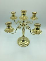 "Vintage Baldwin 11"" Solid Polished Brass 4 Arm 5 Candle Candelabra Holder USA image 3"