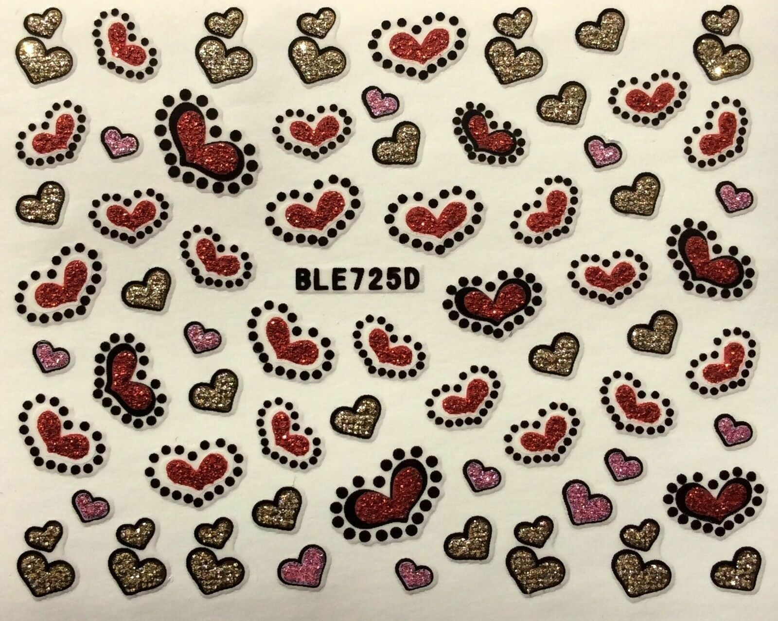 Primary image for Nail Art 3D Glitter Decal Stickers Pink Red Gold Hearts Valentine's Day BLE725D