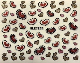 Nail Art 3D Glitter Decal Stickers Pink Red Gold Hearts Valentine's Day ... - $3.09
