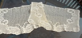 2 Decorative Hand Crocheted V intage Butterfly Panels / Mats / Doilies #4830 - $12.99