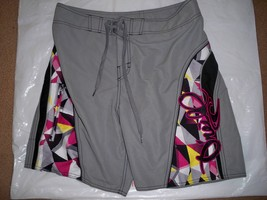 MEN'S GUYS O'NEILL GRAY BOARDSHORTS SWIM SUIT PINK PLAID ON SIDES NEW $60 - $29.99