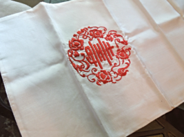 """Asian Embroidered Silk Runner -Ivory with Red Lettering  Approx 10"""" x 46"""" #4640 - $17.99"""