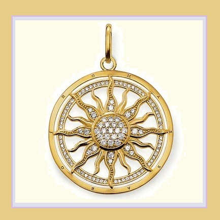 Round 18k Gold Plated Sun Astro Wheel Pendant with Encircled Pave Crystals