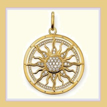 Round 18k Gold Plated Sun Astro Wheel Pendant with Encircled Pave Crystals image 1