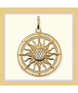 Round 18k Gold Plated Sun Astro Wheel Pendant with Encircled Pave Crystals - $49.95