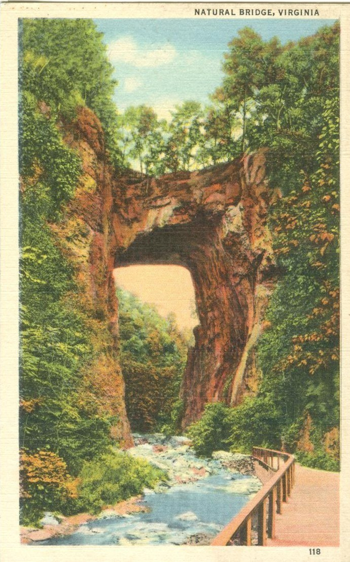 The Natural Bridge, Virginia, unused linen Postcard