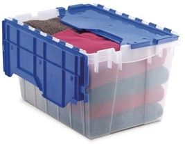 Akro-Mils 66486 CLDBL 12-Gallon Plastic Storage KeepBox with Attached Lid, - $30.57
