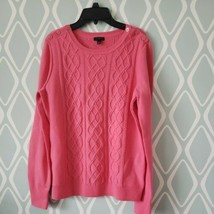 TALBOTS Pink Cable Knit Lambswool Nylon Long Sleeve Sweater Womens Mediu... - $24.74