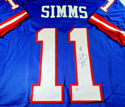 PHIL SIMMS / SUPER BOWL MVP / HAND SIGNED N.Y. GIANTS BLUE CUSTOM JERSEY / COA image 1