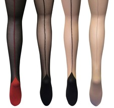 Womens Sexy Cute 20 Den Thin Black / Nude / Red Cuban Heel Seamed Tights... - $8.99