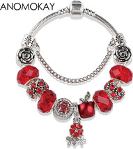 European American Trendy Christmas Apple Charm Pandora Bracelet and Bang... - $17.16