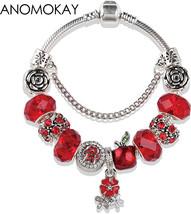 European American Trendy Christmas Apple Charm Pandora Bracelet and Bang... - $17.16