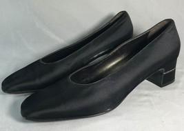 """Salvatore Ferragamo Size 9.5 B Black Satin 2"""" Block Heel Pump Crystals in Heel - $222.75"""