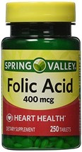 Spring Valley - Folic Acid 400 mcg, 250 Tablets