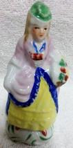 Victorian Lady Figurine Colonial Dress Basket Flowers Red Japan - $7.99