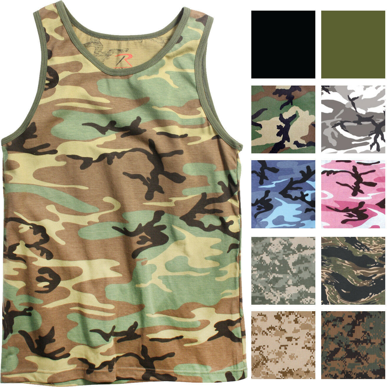 Primary image for Camo Tank Top Sleeveless Muscle Tee Camouflage Tactical Army Military A T-Shirt