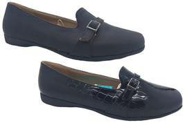 Ladies Shoes Grosby Cara Black/Croc Dress Loafers Slip On Flats Size 6-11 New - $29.13