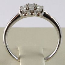 White Gold Ring 750 18K, Trilogy 3 Diamonds Carat Total 0.16, Shank Rounded image 4