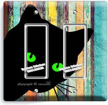 Peeking Black Cat Green Eyes Rustic Wood 2 Gfi Light Switch Wall Plate Art Decor - $11.69